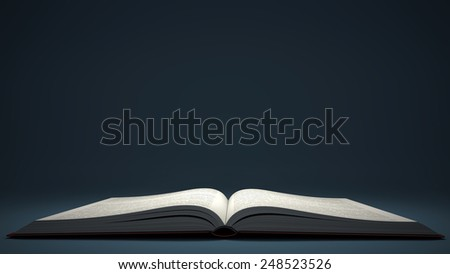Open book isolated on blue background - stock photo