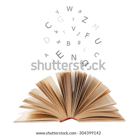Open book isolated on white and letters flying away.Education  - stock photo