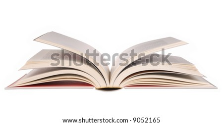 Open book isolated on white background - stock photo