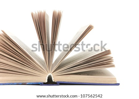open book isolated on white background. close-up