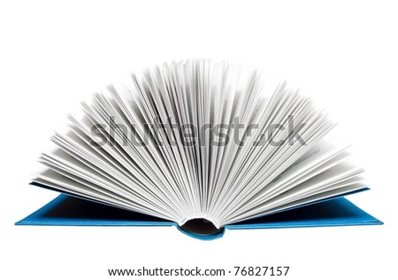 Open book isolated on white. Clipping path included. - stock photo