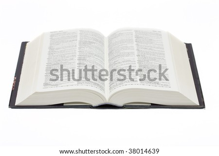 open book isolated on white, high angle view