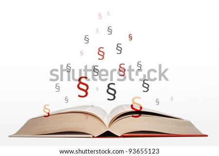 open book of law and right with praragraphs - stock photo