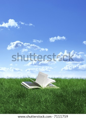 open book on lawn under blue sky - stock photo