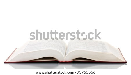 Open book on reflective surface isolated on white - stock photo