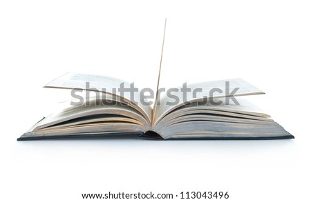 Open Book on table isolated on white - stock photo