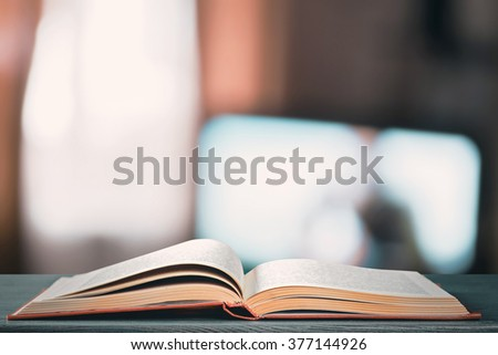 Open book on  the table - stock photo