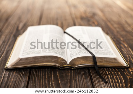 Open Book on wood background - stock photo