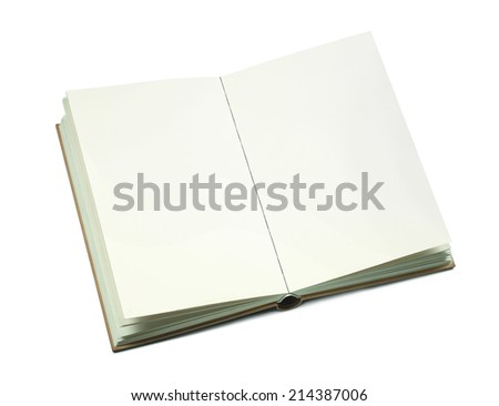 open book open book with blank pages isolated on white background - stock photo