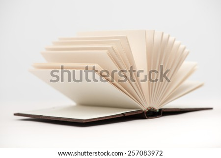 Open book pages in white background. Open book.