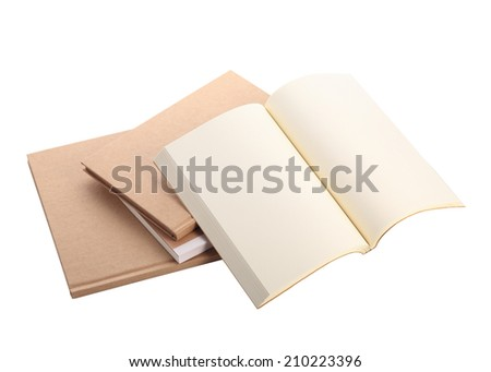open book paper blank isolated on white background - stock photo