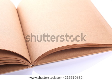 open book paper blank rough texture on white background - stock photo