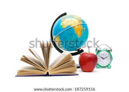 open book, red apple, globe and alarm clock on white background. horizontal photo. - stock photo