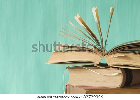 open book, selective focus,free copy space - stock photo