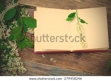 open book with bird-cherry branches on old surface boards. instagram image filter retro style