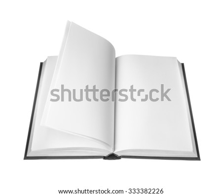 open book with blank pages on white background - stock photo