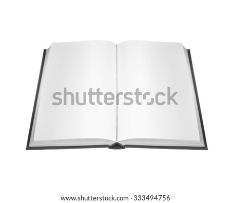 open book with blank pages on white background
