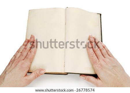 Open book with blank pages, with woman hands, isolated - stock photo