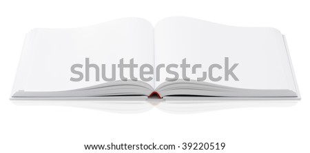 Open book with blank white pages. Isolated against white background. - stock photo