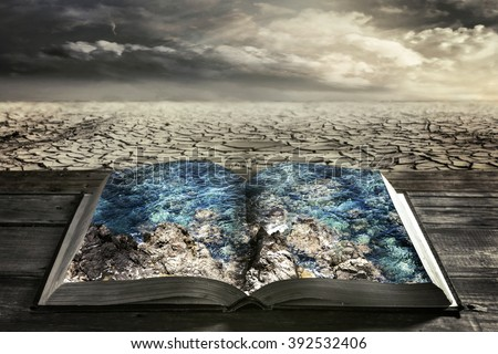 open book with clean water on a background dry earth - stock photo