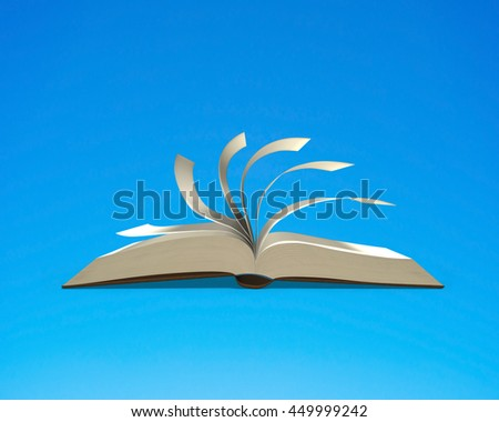 Open book with flipping pages isolated in blue background, nobody, 3D rendering - stock photo