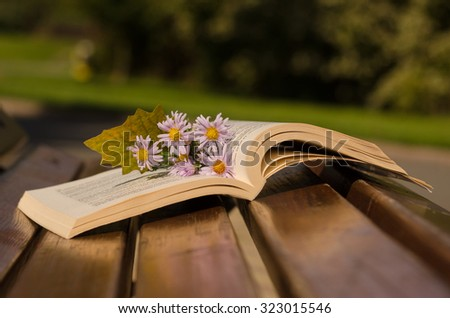 Open book with flowers on the bench