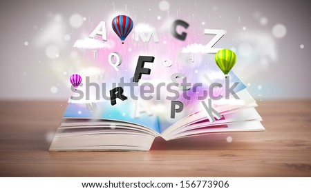 Open book with flying 3d letters on concrete background. Colorful education concept - stock photo