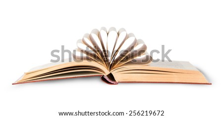 Open book with folded pages isolated on white background - stock photo