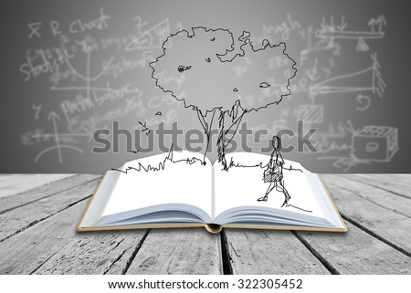 Open book with freehand sketching on formulas background