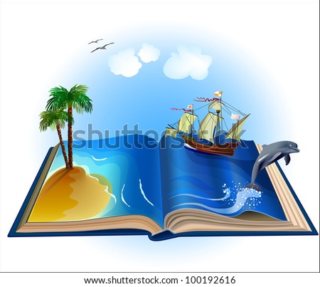 Open book with illustrations come alive. All objects are grouped separately, rasterized versions - stock photo