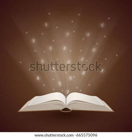 Open book with light coming from it. Knowledge is power. Education and reading concept.