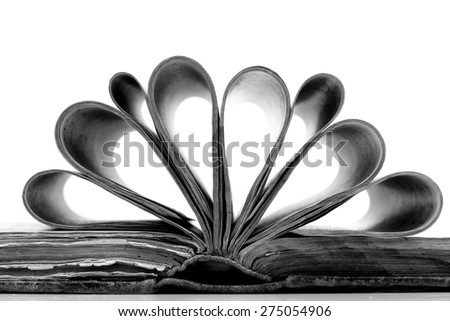 Open book with reflection isolated on white background - in black in white - stock photo