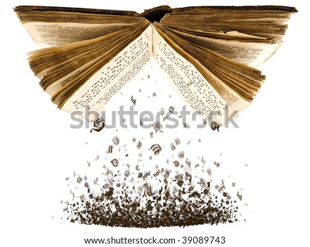 open book with spill out characters from it against the white background - stock photo