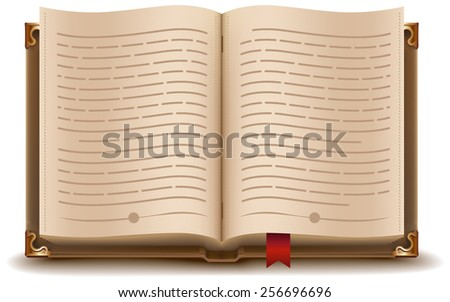 Open book with text and red bookmark - stock photo