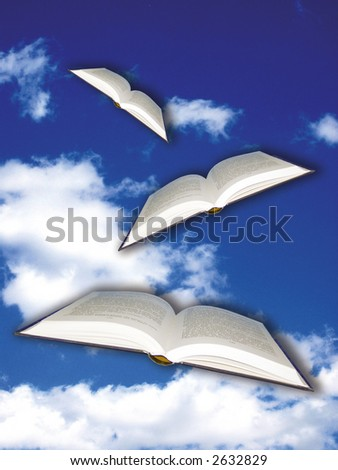 open books flying in the blue sky