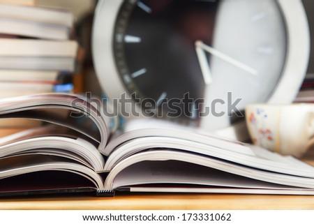 open books stack on desk - stock photo