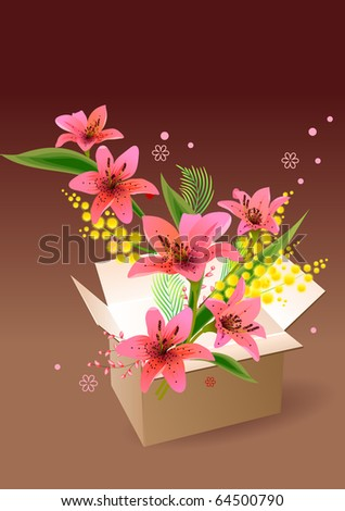Open box full of different flowers. Raster version. Vector version is in my gallery.