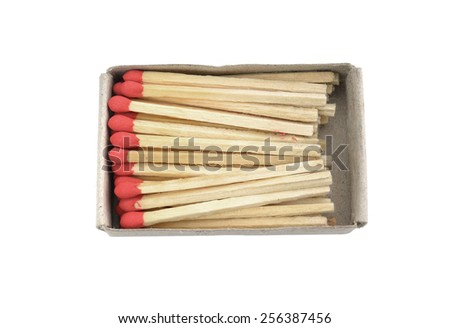 Open Box of Matches With Copy Space Isolated on White Background. - stock photo