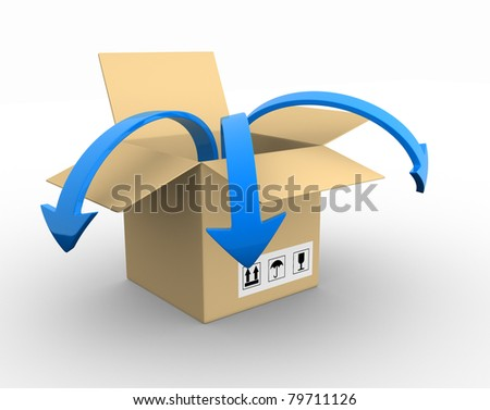 Open box with blue arrow - 3d render illustration - stock photo