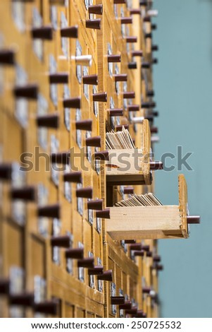 Open box with cards in the archive library - stock photo