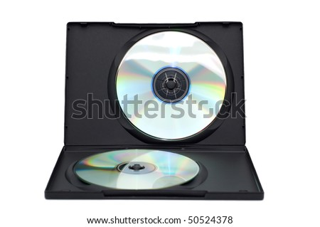 Open box with disks isolated on a white background.
