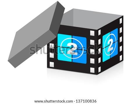 open box with filmstripe on it - stock photo