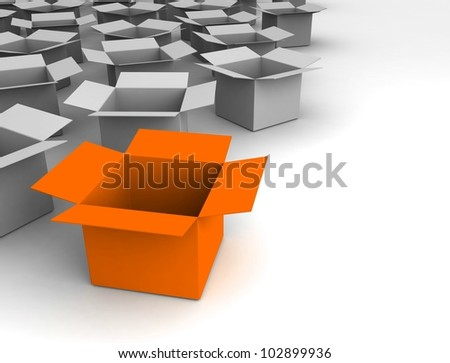 Open boxes isolated on white. 3d illustration - stock photo
