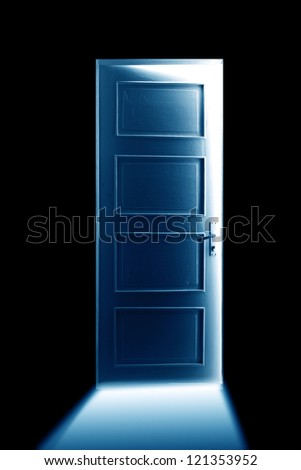 Open bright door. - stock photo