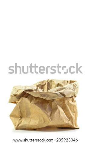 open brown bag on white background