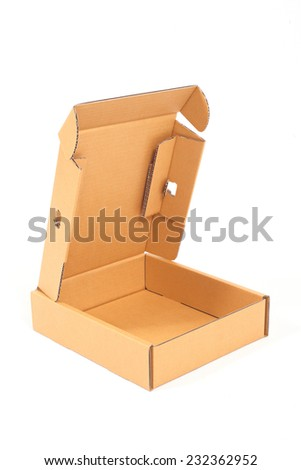 Open brown cardboard box on white background.