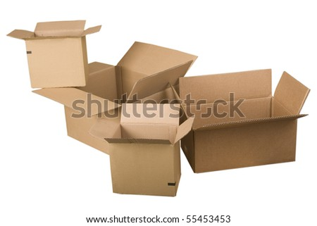 open brown cardboard boxes on white background