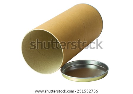Open brown cylinder tube container isolated on white background with work path
