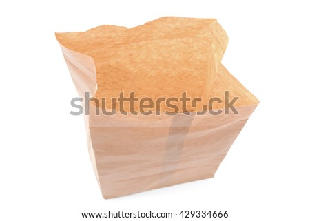 open brown paper bag isolated on a white background - stock photo