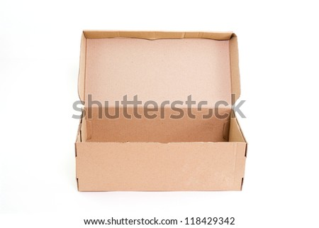 Open brown paper box isolated on white background